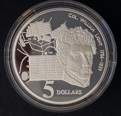 1995 Australia Colonel William Light  1oz Silver (92.5%) Proof $5 coin