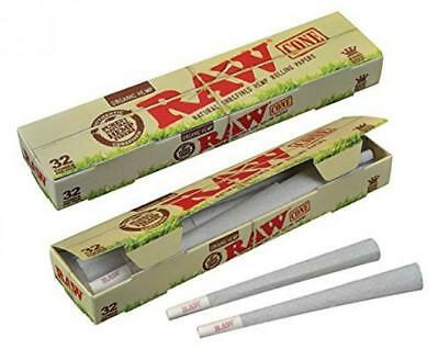 RAW Organic Unrefined Pre-Rolled Cone 32 Pack (King Size) Multi-Pack (12)