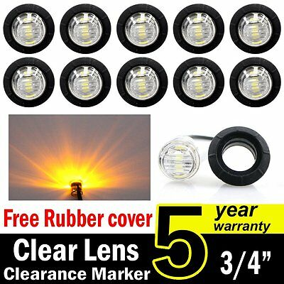 "10 Mini 12V 3/4"" Round 3 LED Clear Amber Side Light LED Marker Trailer Lamp Base"