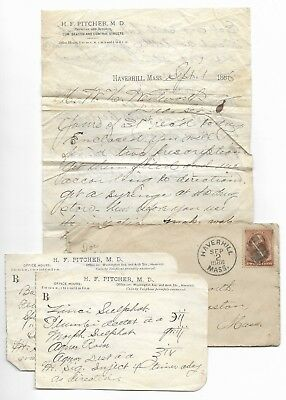 Antique 1886 MEDICAL DOCTOR LETTER Morphine Medicine Prescriptions HAVERHILL MA