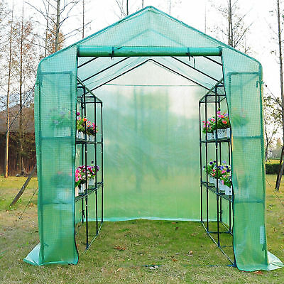 8x6x7ft Walk-in  Greenhouse Pop up Flower Plant Warm house Portable w/ Shelves