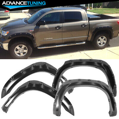 For 07-13 Toyota Tundra POCKET Style Extended Fender Flare Smooth ABS Black