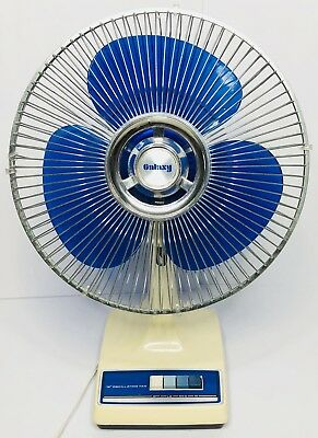 "Clean! Tested! Vintage Blue Fan Color Galaxy / Lasko Fan 12"" Table Oscillating"