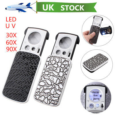 306090x jewellers magnifier glass uv led slide light len pocket magnifying
