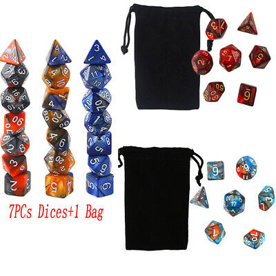 7PCs Dungeons & Dragons Dice Polyhedral Game Dice Two-Colors DND RPG D4-D20 Hot