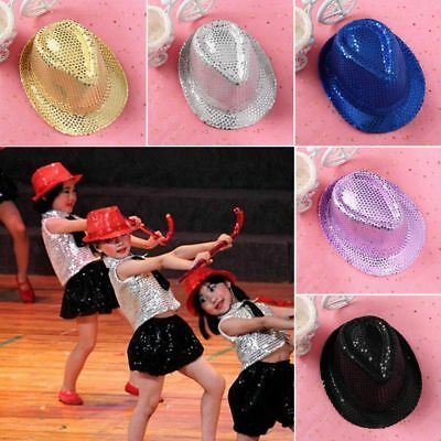 Kids Sequins Cap Gilding Party Jazz Hat Rainbow Boy Girls Glitter Dance Show Hat