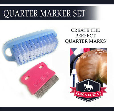 Show Horse Quarter Marker Comb Tool checkerboard and sharksteeth mark brush set