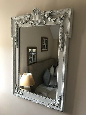 Vintage French Shabby Chic Ornate Wooden Wall Mirror White
