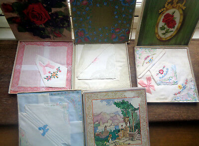 4 x Boxes of Vintage Handkerchiefs Hankies Embroidered Lace Crafts Rework