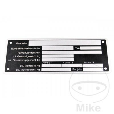 Nameplate For Trailers 150 x 58mm 205.11.42