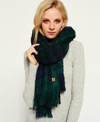 New Womens Superdry Orkney Scarf Green