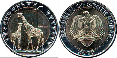 South Sudan 1 Pounds Animals 2015 Bi-Metallic Coin Unc