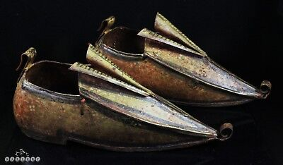 Antique Turkish / Italian Tole Ware Painted Shoes