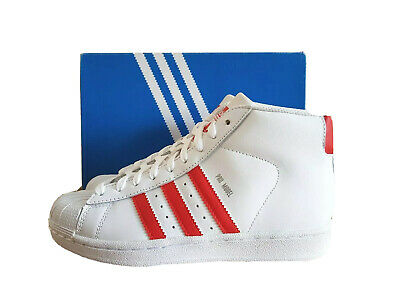 Adidas Mens Boys Pro Model Hi Top Trainers Shoes White/Red S75928 UK 3.5