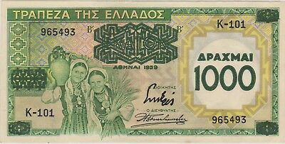 Greece 1000 drachmai 1939 / a UNC / P 111 a / 462