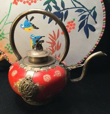 Antique Tibetan Silver Red Porcelain Artisan Made Intricate Monkey Teapot