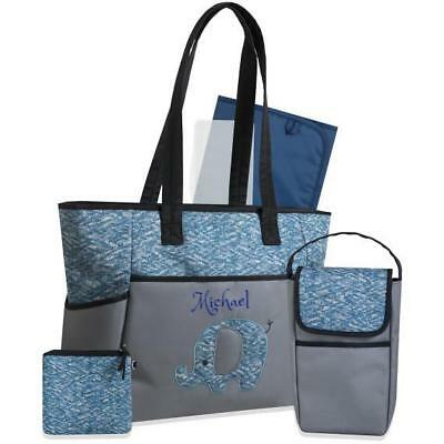 Personalized  5 in 1 Diaper Bag set - Blue Elephant - FREE Shipping | Custom |