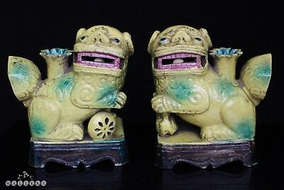 Chinese Pair Egg & Spinach Glazed Dog Of Fo Incense Holders 18th / 19th Century