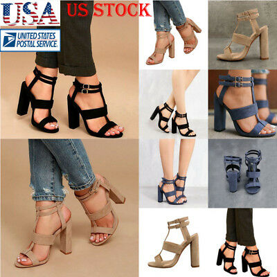 US Womens Open Toe Chunky Heel Shoes Ladies Buckle High Heel Suede Dress Sandals