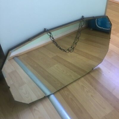 Vintage Art Deco Bevelled Frameless Wall Mirror Horizontal Oblong Shield