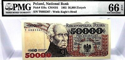 MONEY POLAND 50,000 ZLOTYCH 1993 NATIONAL BANK PMG GEM UNC PICK # 159a