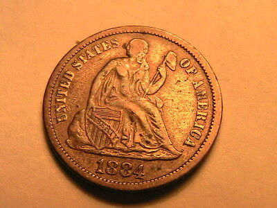 1884-P Ch XF Album Toned Ten Cent Seated Liberty Dime Silver 10C USA Coin