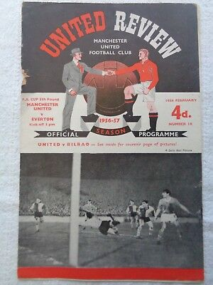 Busby Babes MANCHESTER UNITED V EVERTON FA CUP 5th ROUND 1956/1957 Season.