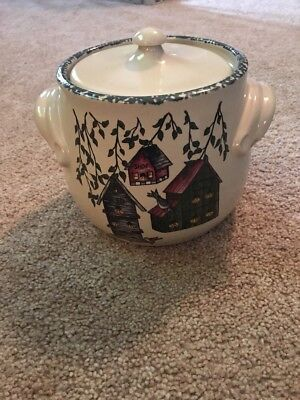 Home And Garden Party Stoneware Crock Cookie Jar Bird House 1999