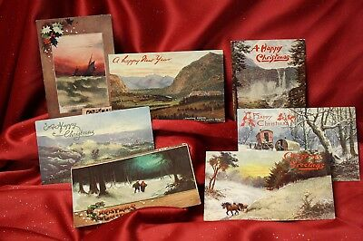 Lot of 7 Vintage Tuck's Oilette Christmas & New Years Post Cards!