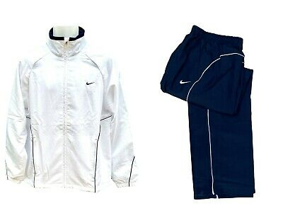 New NIKE Men's TENNIS Warm Up Tracksuit Blue and White AUTHENTIC Large