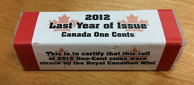 2012 Certified Roll Of 50 One-Cent Coins Struck By The Royal Canadian Mint