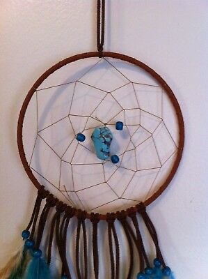 "Cherokee Handmade 21"" Dream Catcher Real Turquoise Nugget, Wood Beads, Feathers"
