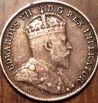 1907 Canada Silver 5 Cents In Better Grade !