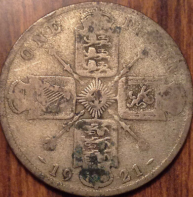 1921 Uk Gb Great Britain Silver Florin