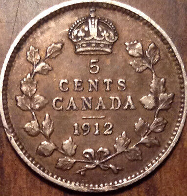 1912 Canada Silver 5 Cents - Better Date In Better Grade !