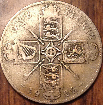 1922 Uk Gb Great Britain Silver Florin