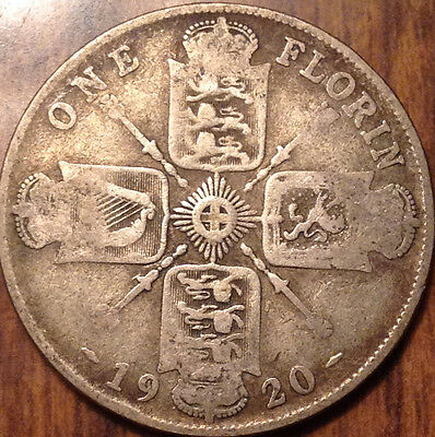 1920 Uk Gb Great Britain Silver Florin