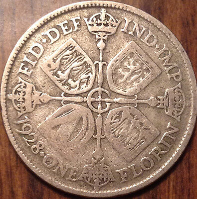 1928 Uk Gb Great Britain Silver Florin