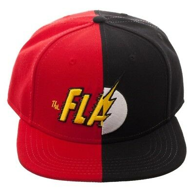 4d850957b64 Dc Comics The Flash Split Text Logo Snapback Mens Hat Cap Flat Bill Red  Black