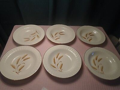 "Edwin M Knowles China Wheat Bowl Lattice edge 8 1/2"" (6) 1930's RARE"