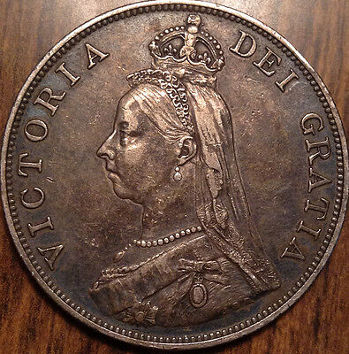 1887 Gb Uk Great Britain Silver Double Florin In Magnificent Condition !