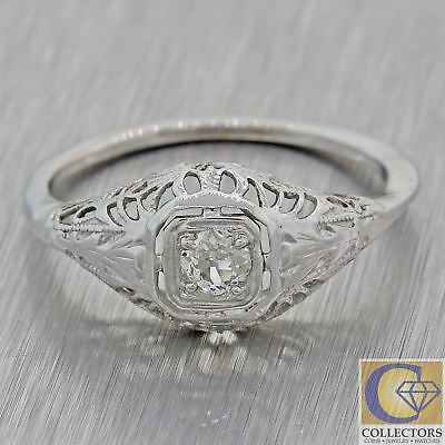 1930s Antique Art Deco Estate 14k White Gold Solitaire Diamond Ring F8