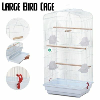 Yaheetech Large Metal Bird Cage Budgie Parrot Canary Cockatiel 18x14x36'' White