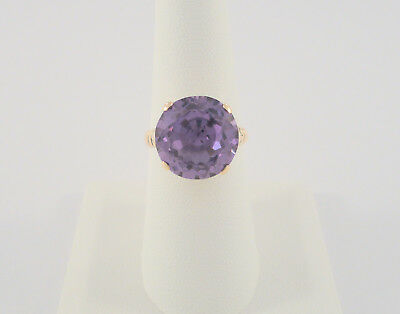 Chunky Vtg Antique 14K Solid Rose Gold & 8.51 Ct Amethyst Victorian Ring Size 7