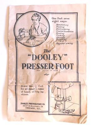 1929 Dooley Presser Foot Instruction Booklet Picoting Tucking Shirring... B9S2