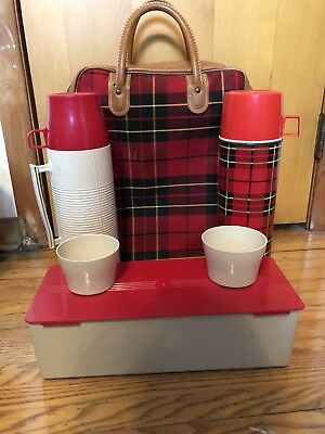 Vintage 1970s King Seeley Thermos plaid picnic kit w/ 2 metal bottles lunch box
