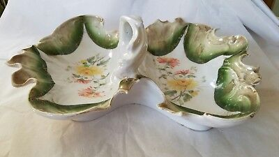 Antique C.T. Germany Porcelain Handpainted Divided Platter Handle early 1900's