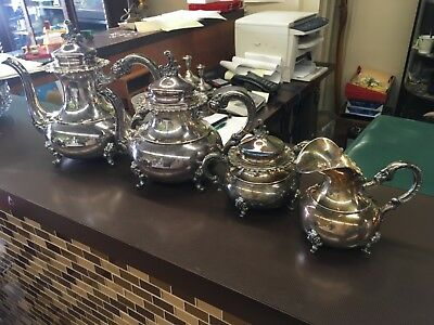 Sterling Silver Tea Set Ornate 4 Piece Set. 56 0zt