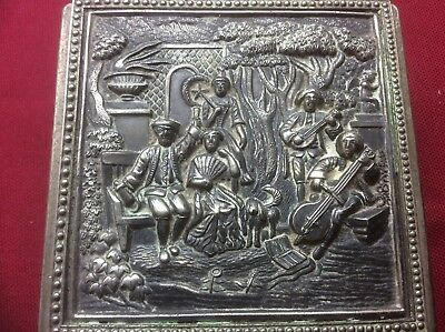 Vintage Embossed Silver Plate Jewellery Box,Classical Figures Trinket Case,Deco