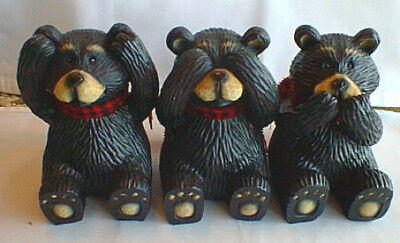 """Set Of 3 Bears Figurines  - Hear Speak See No Evil - Unique - Each 5"""" Tall"""